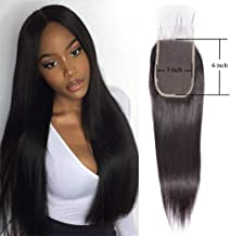 Malaysian Hair With Closure 3x6 Lace Closure Straight Wave With Baby Hair Free Part Closure Straight Unprocessed Virgin Brazilian Human Hair Extension Sew In Hair Weave Preplucked Closure 1b(14 Inch)