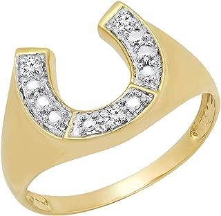 0.05 Carat (ctw) 10K Round White Diamond Men's Fashion Horseshoe Ring, Yellow Gold