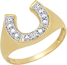Dazzlingrock Collection 0.05 Carat (ctw) 10K Round White Diamond Men's Fashion Horseshoe Ring, Yellow Gold