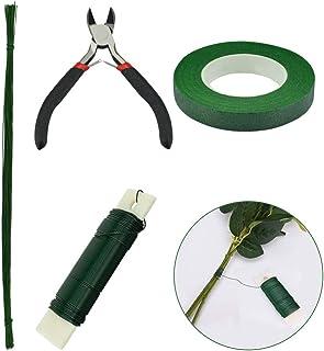 4 Sortes Trousse à Outils Arrangement Floral, Fleuriste Ruban Vert 27 Mètres, Fil de Fleur Vert, 50 PCS * 36 CM Fil de Fer...
