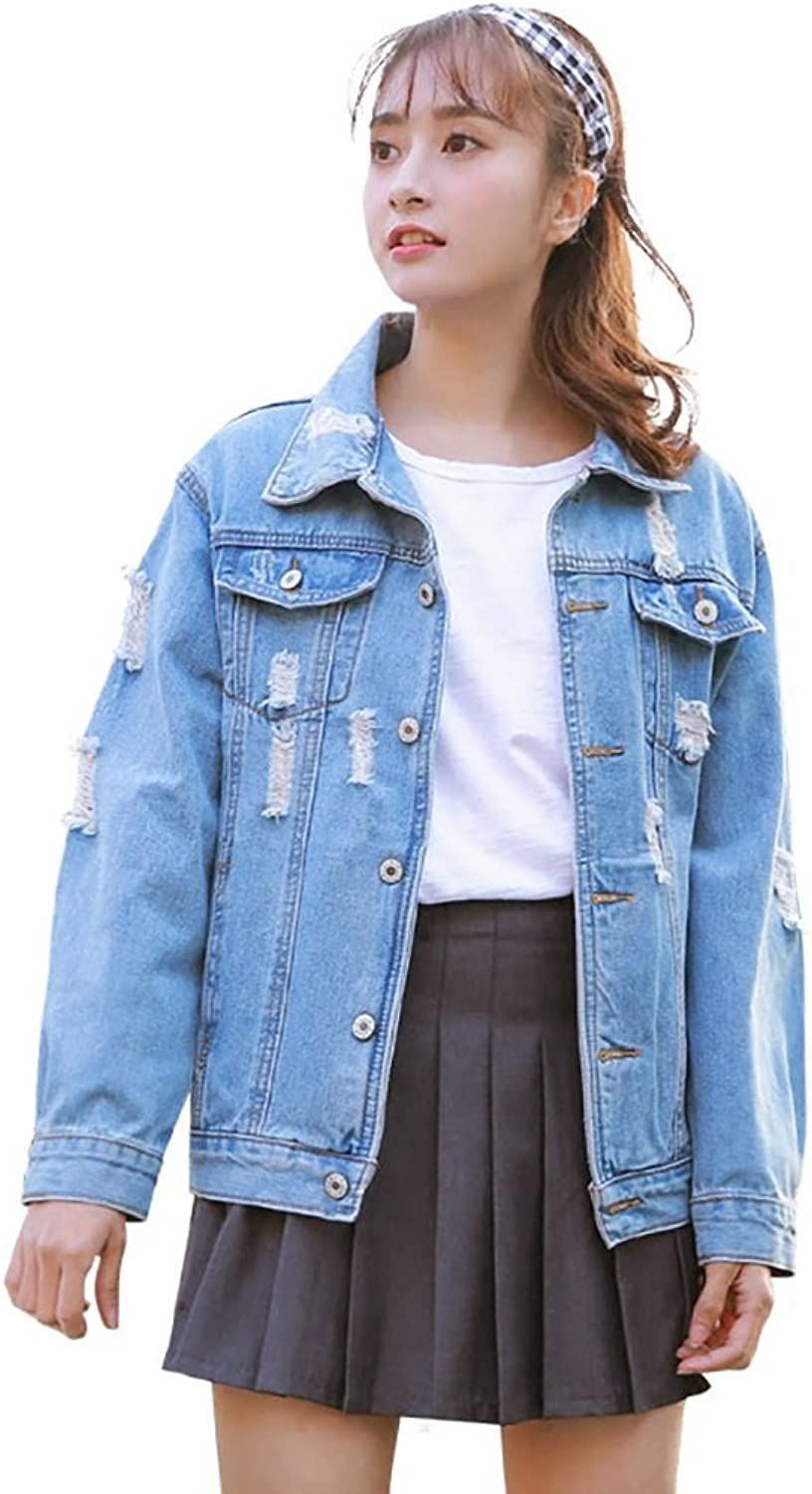 TSINYG Women's Loose Long Sleeve Casual Student Denim Jacket ( color   bluee , Size   M )