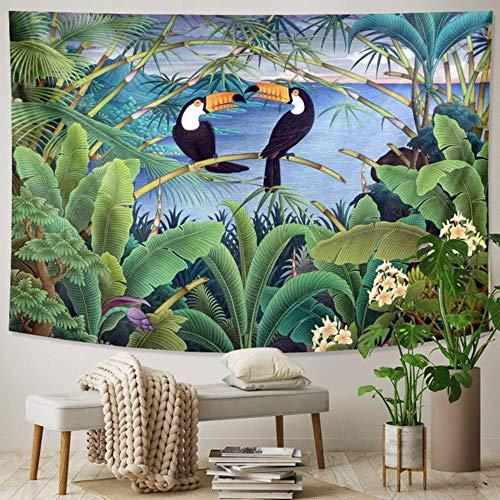 Tapiz de plantas tropicales colgante de pared hoja de palma patrón de flores tapiz bohemio decoración del hogar sábana de playa estera de playa