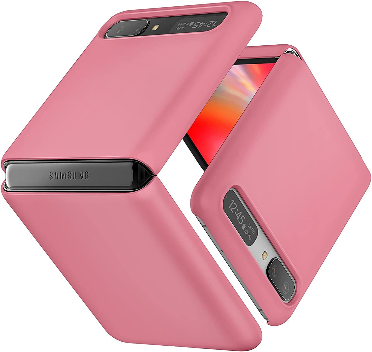 JUST4YOU Slim Fit Hard Case Compatible with Samsung Galaxy Z Flip (1st Generation) / Z Flip 5G (2nd Generation) - Pink