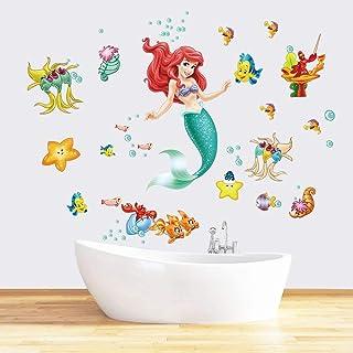 Runtoo Pegatinas de Pared Sirena Ariel Stickers Adhesivos Vinilo Princesa Peces Decorativas Baño Infantiles Habitacion Bebe