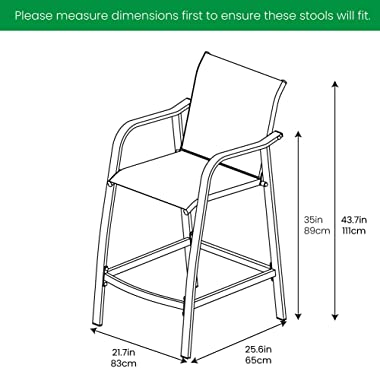 Crestlive Products Outdoor Wicker Bar Stools Patio Rattan Chairs, Backyard Furniture w/Heavy Duty Aluminum Frame in Antique B