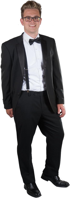 Giovanni Testi Men's Slim Fit 2 Button Black Notch Tuxedo