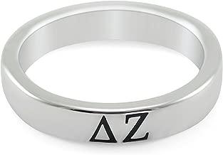 The Collegiate Standard Delta Zeta Sorority Sterling Silver Skinny Band Ring