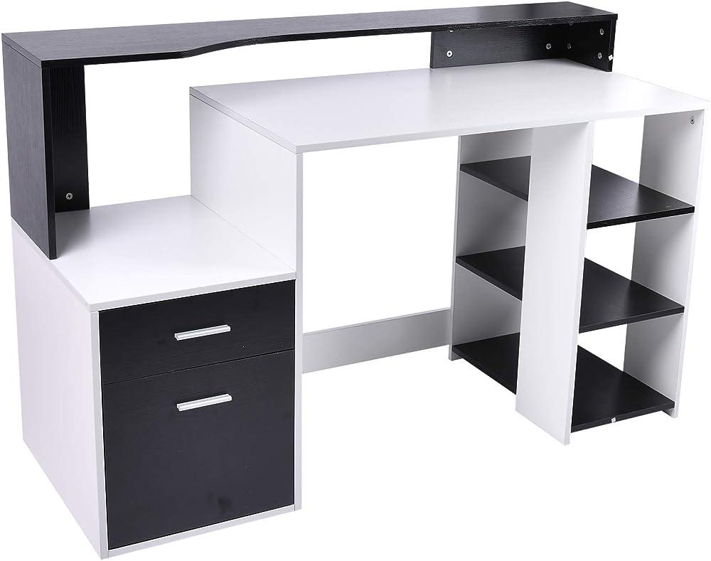 Homcom scrivania per ufficio con ripiano stampante, 2 cassetti e 3 mensole, in mdf bianco e nero, 137 x 55 x 9 IT920-0260631