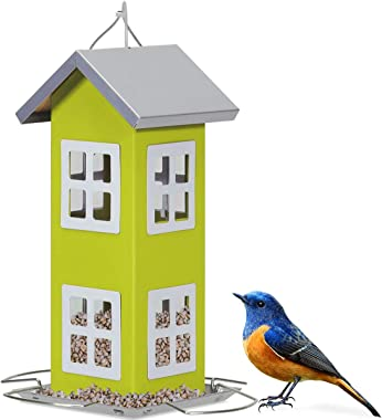Giantex Wild Bird House Feeder, Weatherproof Bird Feeder for Outside, Easy to Clean & Refill Food, Comes with Hanging Cord, Suitable for Backyard, Garden & Window Sill, Hanging Bird Feeder (Green)