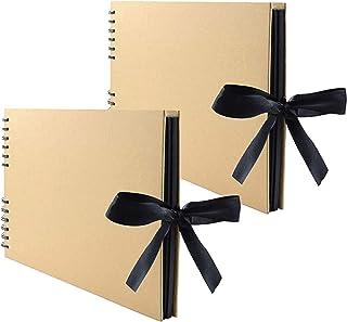 Lawei Lot de 2 x 80 Pages Album photo scrapbooking Livre fait à la main DIY pour Adhesif Mariage Valentin De noël Annivers...