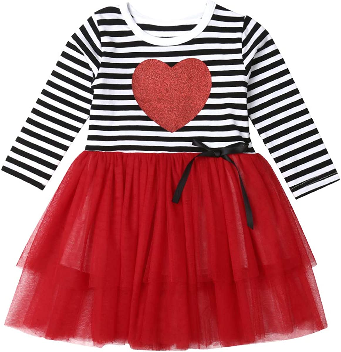 Valentine 's Day Toddler Kids Baby Stripe Sleeve Hear Max 57% OFF Max 59% OFF Girls Long