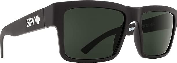 Spy Optic Montana Square Sunglasses, Soft Matte Black/Happy Gray/Green, 1.5 mm