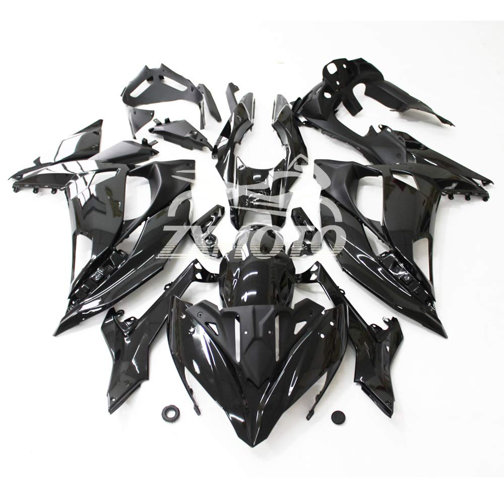 ZXMOTO Motorcycle Bodywork Fairing Kit For Kawasaki Ninja 650 2012-2016 Painted Glossy Black,Tail Side Fairings Without Holes Pieces//kit: 19