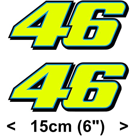 Valentino Rossi Aufkleber Gelb Fluoreszierend 46 Vinyl Abziehbild 2013 15cm Auto