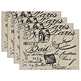 Canvas placemat French Script,Table Place Mat for Kitchen Dining Room,Home Kitchen Office, Set of 4 12X18 inches