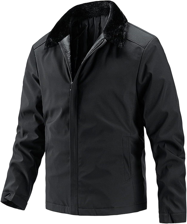 FORUU Winter Jacket For Men 2021 Casual Warm Fleece Jacket with Pockets Fashion Plus Size Bomber Jacket Cute Peacoat