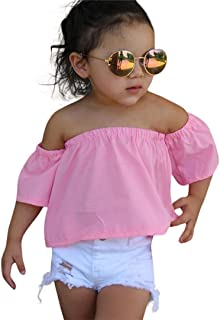 b8e218a843f5 SHOBDW Conjunto Rope para Bebe niña Verano Hombro Camisa para Niñas sin  Tirantes Blusa Moda Tops