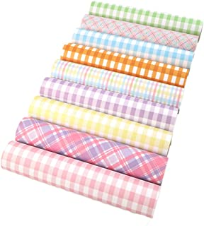 David Angie Bright Colors Plaid Printed Faux Leather Fabric Sheet 9 Pcs 8