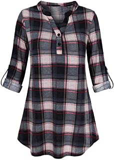 Women's Casual Plaid V Neck Long Sleve Roll-up Blouses T-Shirt Tunic Tops