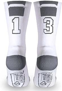 Athletic Half Cushioned Crew Socks | Mid Calf | White | Custom Team Number