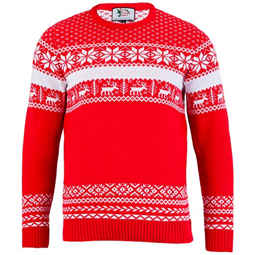 British Christmas Jumpers The Nordic Christmas Jumper Pull, Rouge (Red), X-Large Homme