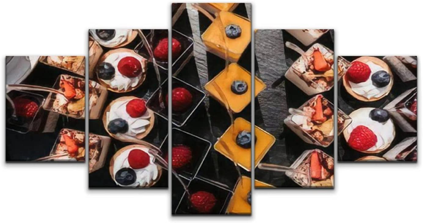 Large Canvas Print 5 Panels Long-awaited Art Paintings Desserts q Free shipping snacks Wall