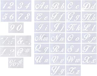 """Letter Stencils for Painting on Wood - Alphabet Stencils with Calligraphy Font Upper and Lowercase Letters - Reusable Plastic Art Craft Stencils with Numbers and Signs - Set of 36 PCs 8.27""""x5.87"""""""