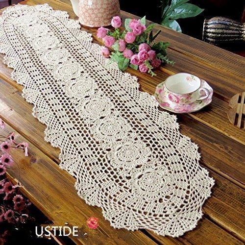 Ustide - Juego de 2 tapetes de mesa de ganchillo, artesanales, hechos con algodón, con diseño ovalado de encaje floral, algodón, beige, 11.8
