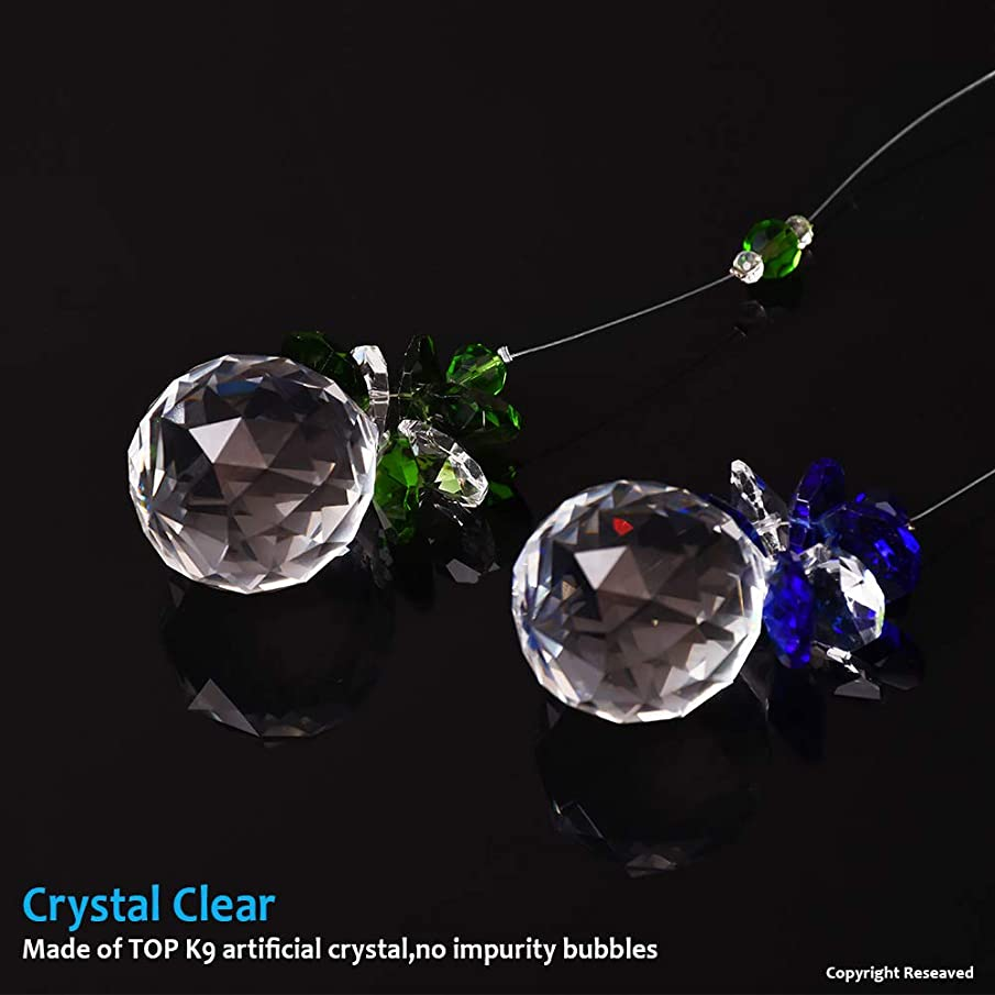 MerryNine Suncatchers Prisms, Window Crystal Decor Prism, Hanging Glass Crystals Suncatchers Prisms for Windows, Prisms Suncatcher, Glass Crystal Prism, Rainbow Crystals for Window (Bluegreen)