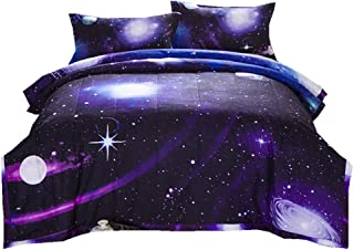 NTBED Galaxy Comforter Sets Purple Full Size Reversible Quilt with 2 Matching Pillow Covers Sky Oil Printing Outer Space Bedding Set