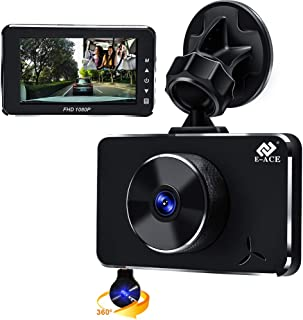 E-ACE Dual Dash Cam for Cars 1080p Front 170° Wide Angle and Cabin Inside Camera 360° Rotatable Camera with Night Vision Parking Monitor G-Sensor Loop Recording WDR Motion Detection(E5-US)