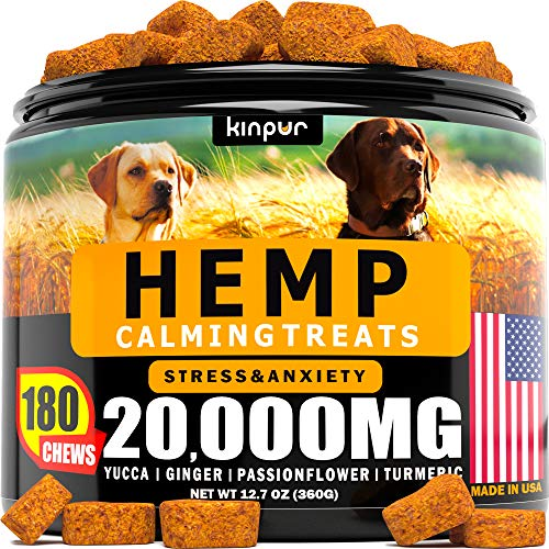 Hemp Dog Chews and Calming Treats for Dogs with Anxiety and Stress - Natural Calming Aid - Separation - Fireworks - Storms - Aggressive Behavior - 180...