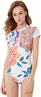 Iusun Women 's One Piece Wetsuit Short Sleeve Thin Zip Flower Printing Siamese Swimwear Swim Suit Super Stretch Bodysuit - Perfect for Swimming/Scuba Diving/Snorkeling/Surfing/Wading/Spa