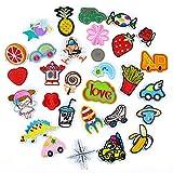 Hierro en parches bordado cosido Termoadhesivos para ropa, chaquetas, mochilas, jeans,29pcs Fruit Cartoon Car Set