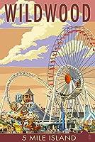 Wildwood、新しいジャージー–Pierとサンセット 16 x 24 Giclee Print LANT-44738-16x24