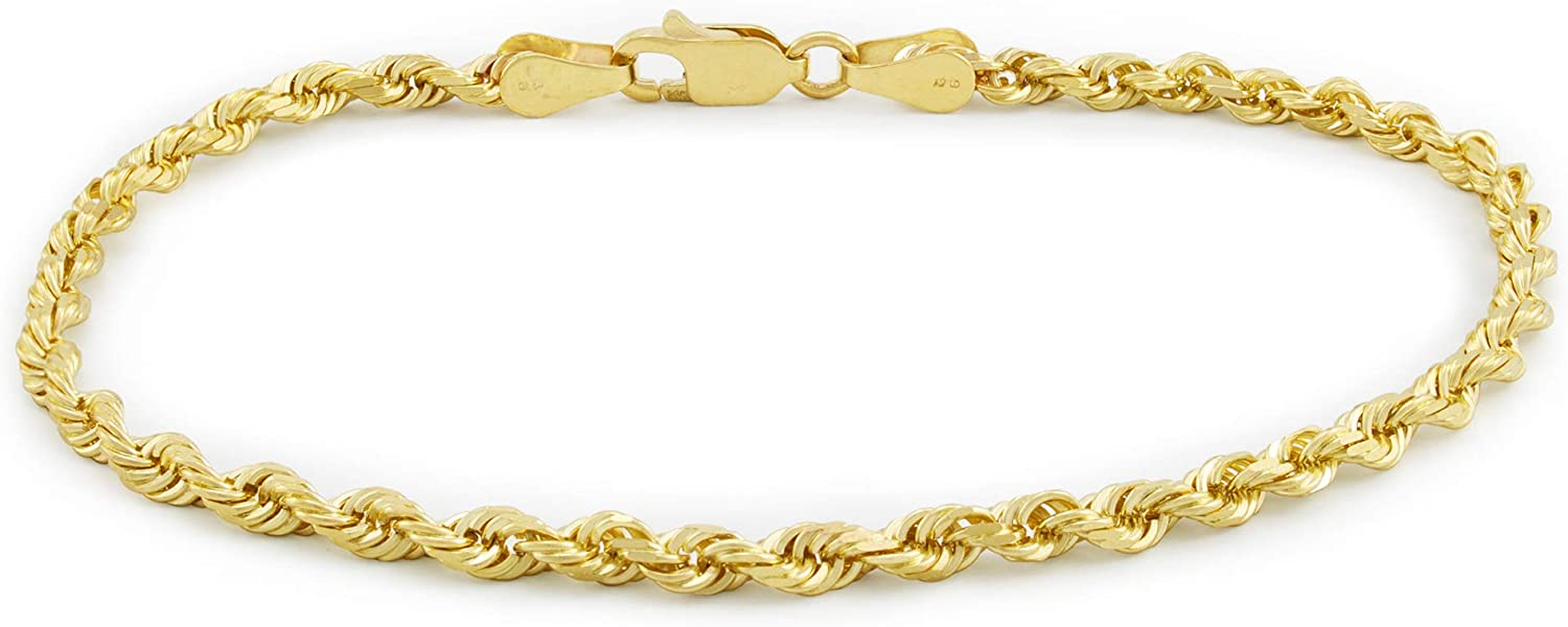 Nuragold 14k Yellow Gold 3mm Rope Chain Diamond Cut Bracelet or Anklet, Womens Mens Lobster Lock 7