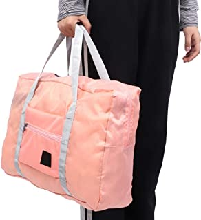 One-Shoulder Travel Bag Folding, Large Capacity Waterproof Foldable Duffle Bag Travel Luggage Storage Bags Organizer for Men Women Water-Proof & Tear Resistant(Pink)