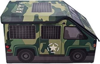 Clever Creations Kids Camo Army Truck Collapsible Toy Storage Organizer Toy Box Folding Storage Ottoman for Kids Bedroom   Perfect Size Toy Chest for Books, Kids Toys, Baby Toys, Baby Clothes