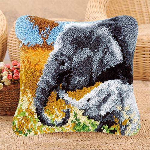 LAPATAIN Latch Hook Kits for DIY Throw Pillow Cover,Needlework Cushion Cover Hand Craft Crochet for Great Family 15.7X15.7inch Two Elephants(Grey and White)