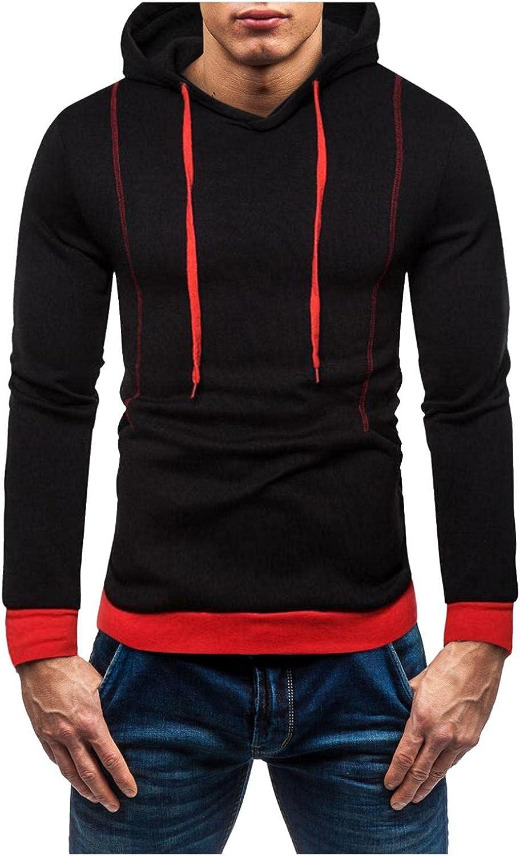 Aayomet Men's Hoodies Sweatshirts Color Block Tops Long Sleeve Athletic Hooded Pullover Blouses Sweaters for Men