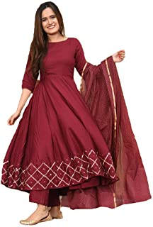 GoSriKi Women Anarkali Regular Rayon Kurti With Pant KUMT-DRESS-RED