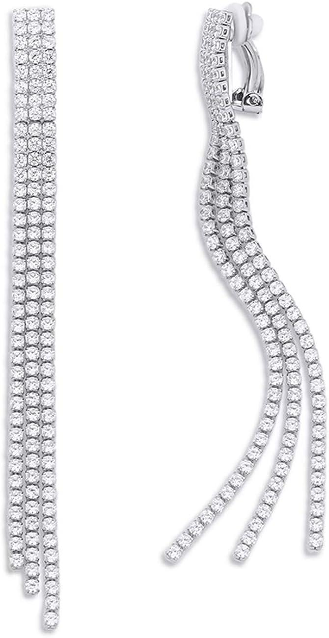 YOQUCOL Cubic Zirconia Crystal Long Drop Dangle Tassel Clip On Earrings CZ Not Pierced For Women Girls