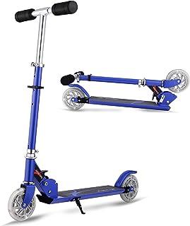 comprar comparacion AMDirect Patinete Plegable con 2 Ruedas Luces Led Manillar Ajustable en Altura Patín Scooter para Niños 6 Años en Adelante