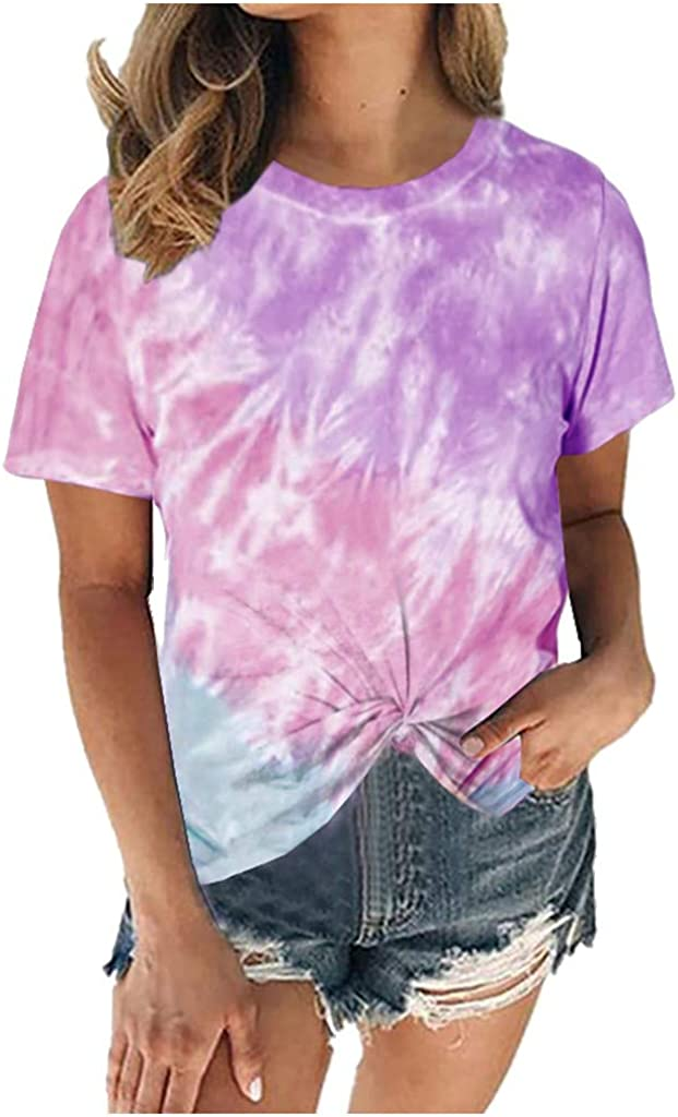 Long Beach Mall Dealing full price reduction LINKIOM Women's Summer Tie-Dye Short T-Shirt Sleeve Ca Crew-Neck