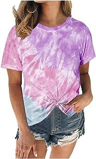 Women Summer Short Sleeve Tops, Ladies Tie-Dye Printed T-Shirt Blouse Tunic Top