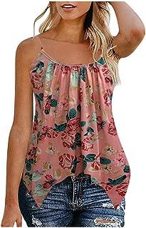 Allywit S-6XL Women's Boho Floral U Neck Spaghetti Straps Tank Top Summer Sleeveless Shirts Blouse Plus Size