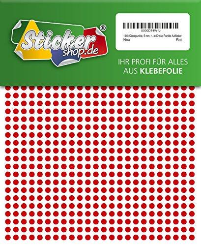 1440 Klebepunkte, 5 mm, rot, aus PVC Folie, wetterfest, Markierungspunkte Kreise Punkte Aufkleber