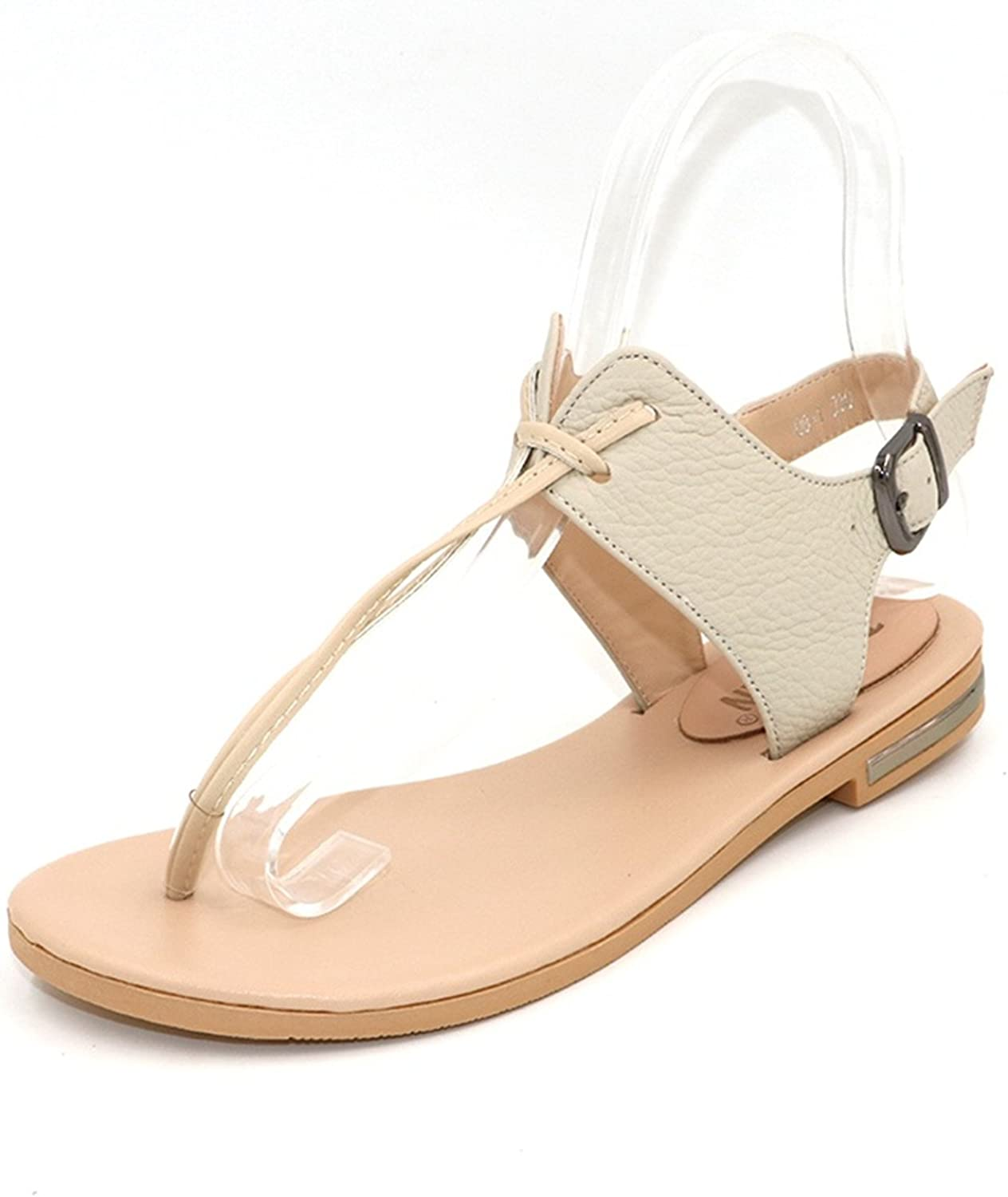 Greuses Women's Real Natural Genuine Leather Flat Sandals Bohemia Slippers Summer Beach Sandals Ladies shoes Size 34-43 R5744