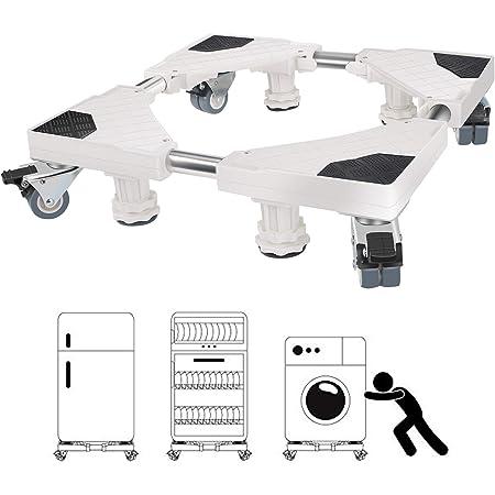 Socle Lave Linge, Winzwon 45cm-68cm Base de Machine à Laver Réglable Support Charge 300 kg Réduction du Bruit Effet Avec pour Réfrigérateur/Machine à Laver/Sèche-Linge (blanc)