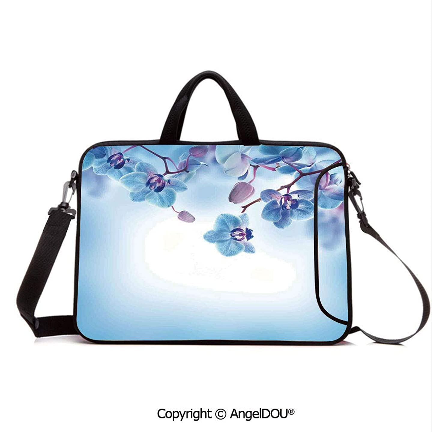 AngelDOU Waterproof Laptop Sleeve Bag Neoprene Carrying Case with Handle & Strap Orchids Asian Natural Flowers Reflections on Water for Spring Calming Art for Women &Men Work Home Office Blue and Pu